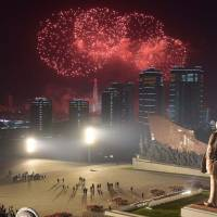 This Sunday picture released from North Korea's official Korean Central News Agency (KCNA) on Monday shows fireworks being displayed to celebrate the 106th birth anniversary of late North Korean leader Kim Il-Sung in Pyongyang. | KCNA VIA KNS / VIA AFP-JIJI