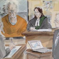 In this artist's sketch, Bruce McArthur, facing several murder charges, makes an appearance via video in a Toronto courtroom Wednesday. | ALEXANDRA NEWBOULD / THE CANADIAN PRESS / VIA AP