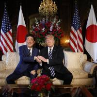 U.S. President Donald Trump hosts a bilateral meeting with Prime Minister Shinzo Abe at Trump's Mar-a-Lago estate in Palm Beach, Florida, on Tuesday. | REUTERS