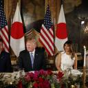 U.S. President Donald Trump and first lady Melania Trump host Japanese Prime Minister Shinzo Abe and his wife Akie Abe for dinner at Trump's private Mar-a-Lago club at his resort in Florida on Wednesday.