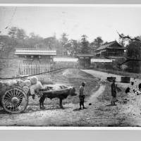 People with an ox cart walk in front of Edo Castle's Hanzomon gate in 1871.  courtesy of edo-tokyo museum | COURTESY OF EDO-TOKYO MUSEUM