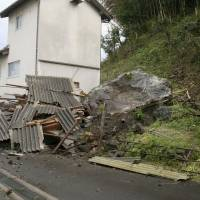 This landslide in Oda, Shimane Prefecture, was triggered by an earthquake Monday. | KYODO