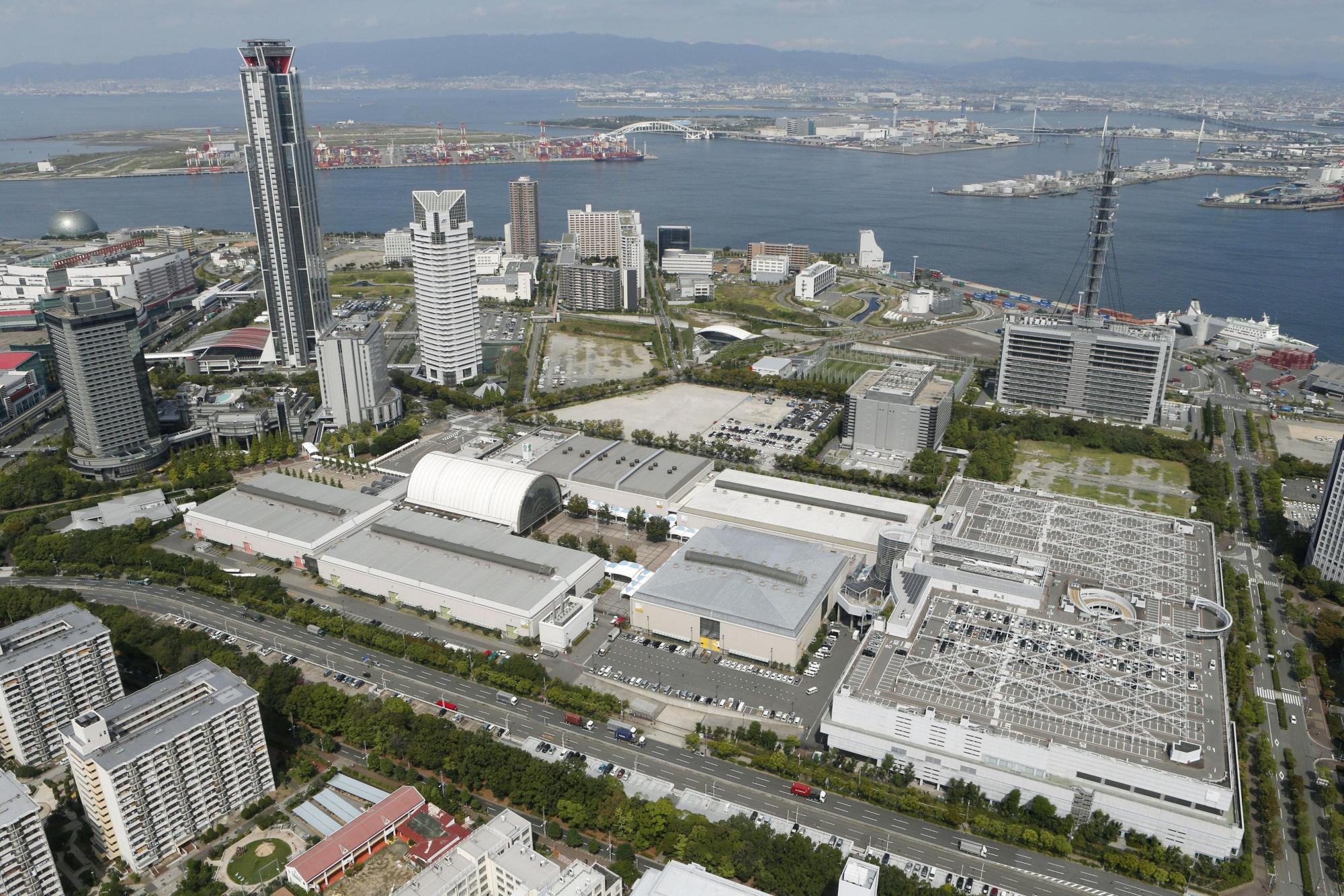 The Intex Osaka convention center in the city's waterfront area will host next year's Group of 20 leaders' summit. | KYODO