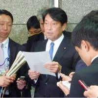 Defense Minister Itsunori Onodera speaks to reporters at the ministry in Tokyo on Wednesday. | KYODO