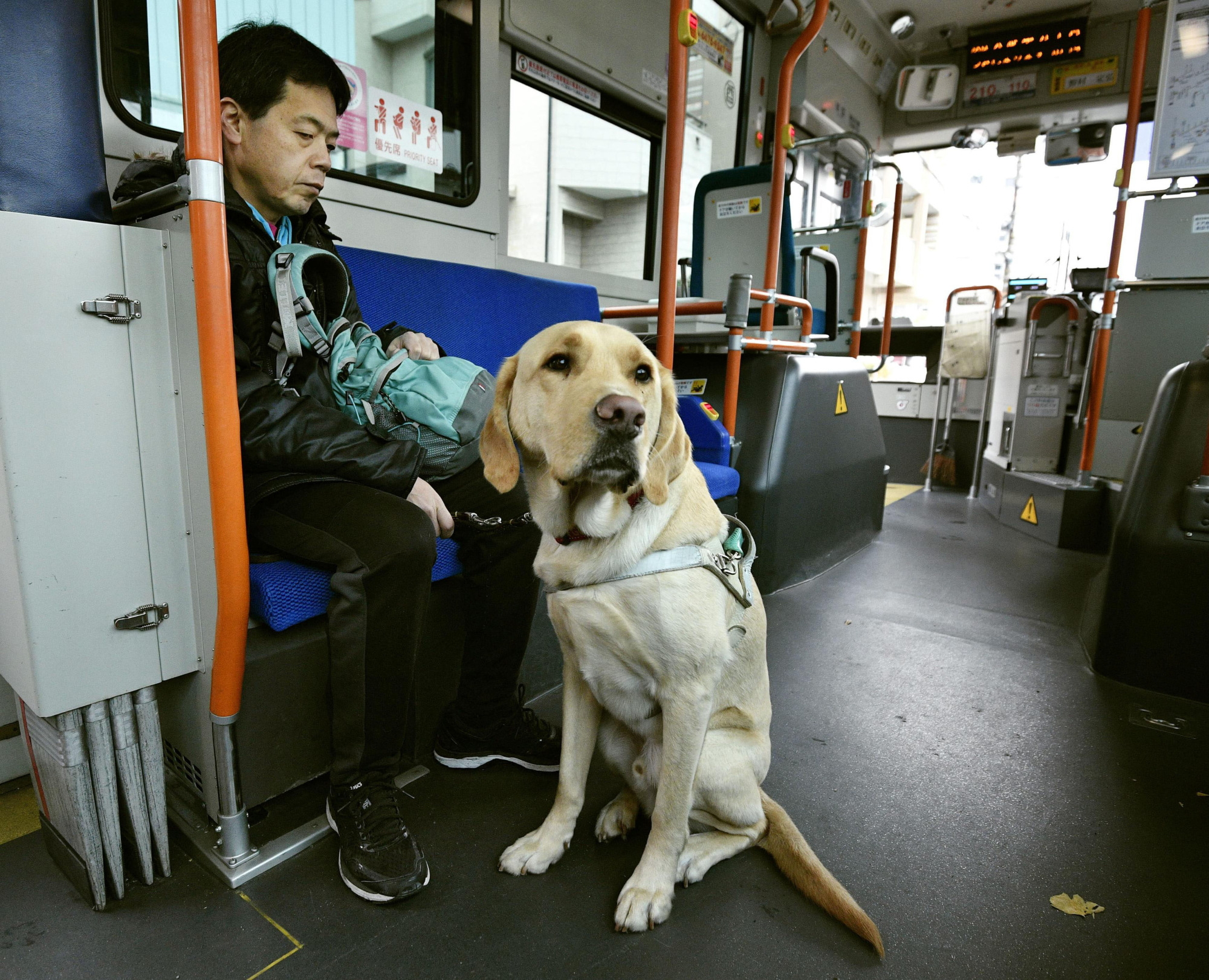 A man is accompanied by his guide dog as he rides on a bus in the city of Osaka in December. | KYODO
