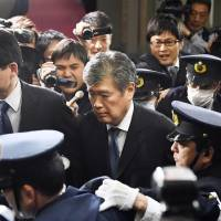 Administrative Vice Finance Minister Junichi Fukuda leaves the ministry Monday evening. | KYODO