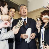 Disgraced top Finance Ministry bureaucrat Junichi Fukuda takes questions from the media on Wednesday regarding sexual harassment accusations.  | KYODO