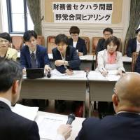 Opposition lawmakers in the Diet grill Finance Ministry officials about allegations of sexual harassment on Monday. | KYODO