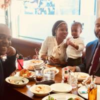 Down time: Samir St. Clair with his wife,  Jamila, and daughter take some time out in Shin-Tokorozawa, Saitama Prefecture. | COURTESY OF SAMIR ST. CLAIR