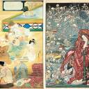 "Left: Kawanabe Kyosui's ""Bathing the Seven Gods of Good Fortune"" (c. 1920-early '30s, on view May 1-13). Right: Kawanabe Kyosai's ""Jigoku Dayu (Hell Courtesan)"" (1874, on view May 15-27)."