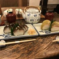 Roll up, roll up: Izuu specializes in saba-zushi (left), cured mackeral pressed into vinegar-flavored rice and wrapped in a piece of konbu seaweed. | J.J. O'DONOGHUE