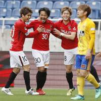 Reds hold off Vegalta to record first J. League victory of season
