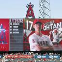 Shohei Ohtani's name is shown in the fourth spot in the Angels' lineup for their game against the Giants on Sunday.