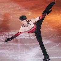 Two-time Olympic champion Yuzuru Hanyu skates in his show 'Continues with Wings' on Friday night in Tokyo. | KYODO