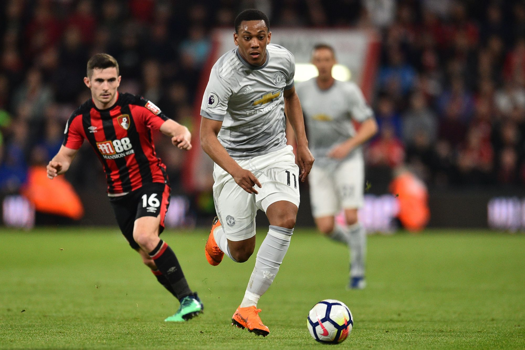Manchester United's Anthony Martial moves the ball against Bournemouth in Premier League action on Wednesday night. | AFP-JIJI