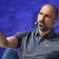 Uber Chief Executive Officer Dara Khosrowshahi speaks on stage during the second annual Uber Elevate Summit at the Skirball Center in Los Angeles May 9. Ride-hailing services Uber and Lyft on Tuesday scrapped policies requiring arbitration over claims of sexual misconduct involving employees, riders and drivers, allowing cases to be heard in public and pursued in open court. | AFP-JIJI