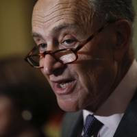 Senate Minority Leader Chuck Schumer, a Democrat from New York, speaks during a news conference after a Senate Democratic weekly luncheon meeting at the U.S. Capitol in Washington on Tuesday. | BLOOMBERG