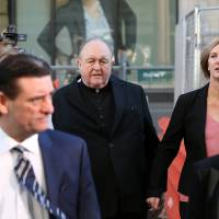 Archbishop Philip Wilson arrives at Newcastle Local Court in Newcastle, Australia on Tuesday. | AP