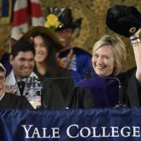 Clinton ribs Trump, dons Russian cap at Yale's Class Day