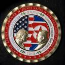 A coin for the upcoming U.S.-North Korea summit is seen in Washington Monday. The commemorative coin featuring U.S. President Donald Trump and North Korea's Kim Jong Un has been struck by the White House Communications Agency ahead of their summit.