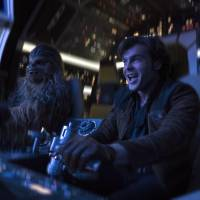 Alden Ehrenreich (right) and Joonas Suotamo appear in a scene from 'Solo: A Star Wars Story.'   JONATHAN OLLEY / LUCASFILM / VIA AP