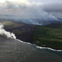Lava from Hawaii's Kilauea volcano now entering ocean from three flows