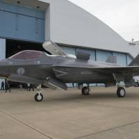 An Italian F-35B is seen in January at U.S. Naval Air Station Patuxent River in Maryland after being ferried from Italy. | F-35 LIGHTNING II PAX RIVER ITF