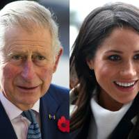 The combination of photos shows Britain's Prince Charles arriving at the Natural History Museum in London in November 2016 and Prince Harry's fiancee, U.S. actress Meghan Markle, greeting well-wishers as she arrives with the prince at Millennium Point to attend an event on March 8. | AFP-JIJI