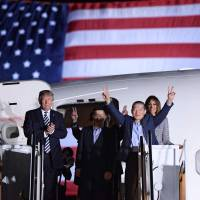 Trump welcomes three Americans freed by North Korea in diplomatic win for U.S. president