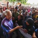 Former Malaysian prime minister Najib Razak shakes hands with supporters during an event in Pekan on Sunday.