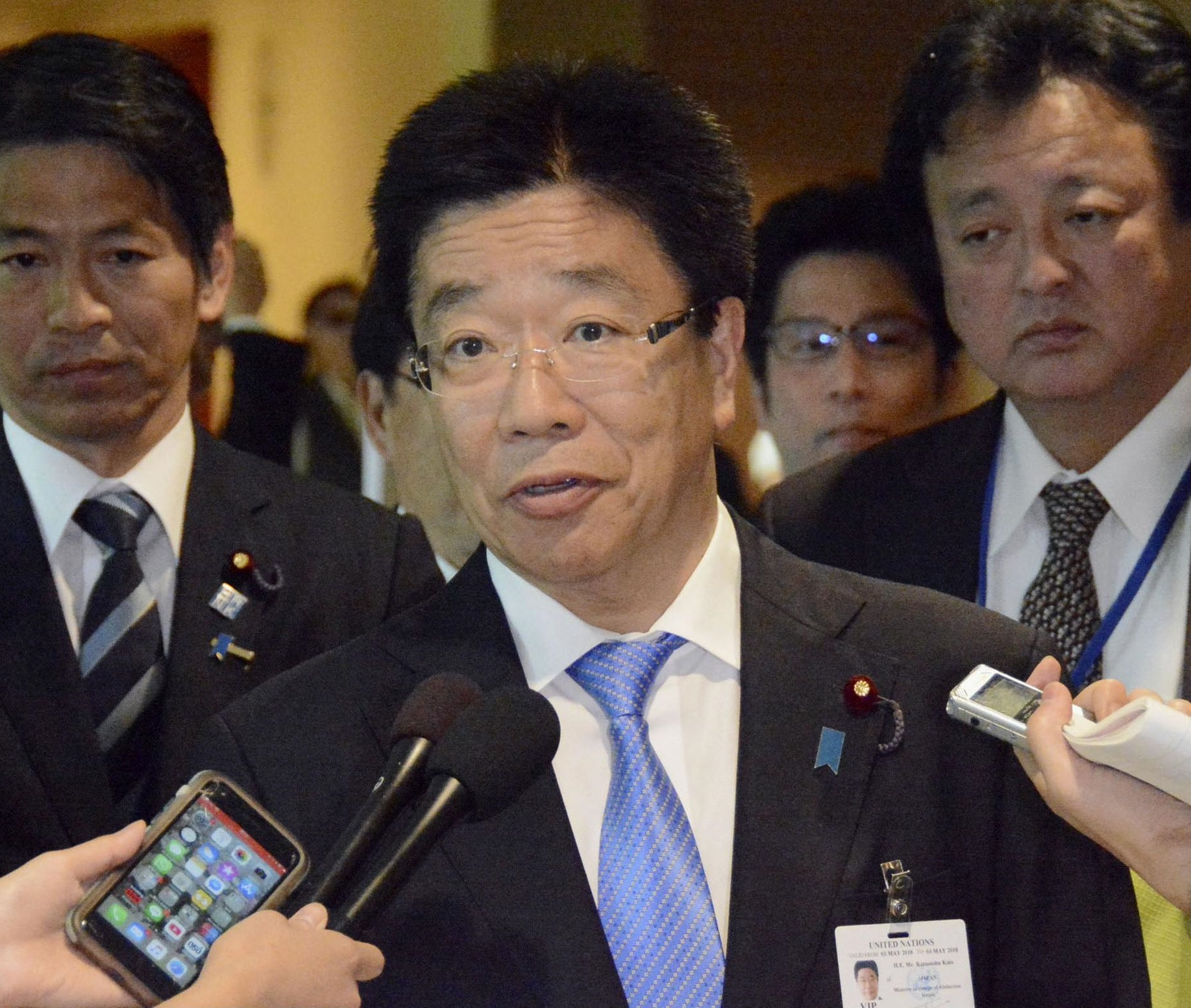 Katsunobu Kato, the Cabinet minister in charge of the abduction issue, speaks to reporters Thursday at the U.N. headquarters in New York. | KYODO