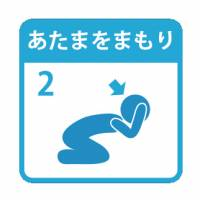 Pictograms for ShakeOut drills show how to quickly avert bodily damage from earthquakes. | CHUNICHI SHIMBUN