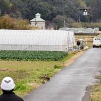 A drone carrying cargo flies over a field in Naka, Tokushima Prefecture, in western Japan, on Feb. 24, 2016, as part of an experiment by the transport ministry. The ministry conducted the experiment in collaboration with a Tokyo firm planning to launch a business delivering goods via drone to households of senior citizens.  | KYODO
