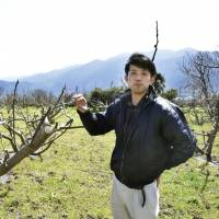Takeshi Okame, shows off his lemon and fig orchard in Saijo, Ehime Prefecture, in March. | KYODO