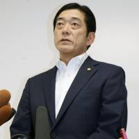 Ehime Gov. Tokihiro Nakamura tells reporters that the Ehime Prefectural Government submitted a new document to the Diet related to a meeting between the local officials and Tadao Tanase, a former aide to Prime Minister Shinzo Abe that took place on April 2, 2015. | KYODO