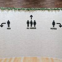 A lavatory in Don Quijote Co.'s flagship store in Shibuya Ward, Tokyo, has an 'All Gender' sign.   KYODO