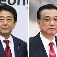The upcoming trilateral summit is expected to see Prime Minister Shinzo Abe, Chinese Premier Li Keqiang (center) and South Korean President Moon Jae-in (right) dance around issues related to North Korea. | KYODO