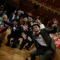 A ghastly treat: Shinichiro Ueda (front) and the cast of zombie flick 'One Cut of the Dead' ham it up for the cameras at this year's Udine Far East Film Festival in Italy. | © UDINE FEFF20/PHOTO BY RICKY MODENA