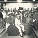 Profound performance: Prisoner of war Hermann Hansen (seated, center) conducted the Tokushima Orchestra and a choir made up of other POWs in a performance of Beethoven's Ninth Symphony that was held June 1, 1918, in Tokushima Prefecture.