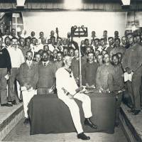 Profound performance: Prisoner of war Hermann Hansen (seated, center) conducted the Tokushima Orchestra and a choir made up of other POWs in a performance of Beethoven's Ninth Symphony that was held June 1, 1918, in Tokushima Prefecture. | NARUTO GERMAN HOUSE