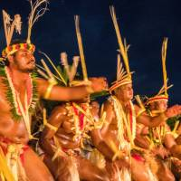 A day of culture: Yapese men dancing at the 50th anniversary of  the island's annual Yap Day celebrations. | ROBERT MICHAEL POOLE