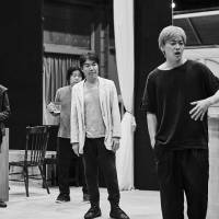 Hang in there: The cast of Keishi Nagatsuka's 'Hangmen' rehearse at a studio in Tokyo ahead of a countrywide run. The play will be a Japanese version of a Martin McDonagh work by the same name.