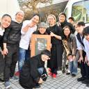 Fishing for change: Chefs for the Blue assembled at their food cart event at UNU Tokyo. Chef Shinsuke Ishii is left of center in white and founding-member Hiroko Sasaki can be seen third from right in a puffer jacket.