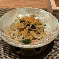 Raison d'etre: Sobagami's clear soba noodles topped with karasumi (cured mullet roe). | ROBBIE SWINNERTON