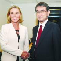 European Union High Representative for Foreign Affairs and Security Policy Federica Mogherini meets with Foreign Minister Taro Kono on the sidelines of the U.N. General Assembly in New York on Sept. 19. | EUROPEAN UNIONE