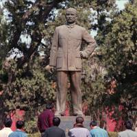 Credit where credit's due: A statue of Sun Yat-sen in Beijing shows the Republic of China founder wearing what is known in Chinese as a 'Sun Yat-sen suit,' not a 'Mao suit.' | ASSOCIATED PRESS