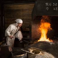 Yasha Yukawa works on a sword at his forge outside Hofu in Yamaguchi Prefecture. | CHRISTINA SJOGREN