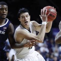 George Washington University guard Yuta Watanabe, who received Atlantic 10 Conference Defensive Player of the Year honors in March, is preparing to begin his pro basketball career. | AP