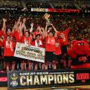 Tokyo Alvark players celebrate after defeating the Chiba Jets Funabashi in the B. League Championship Final on Saturday at Yokohama Arena.