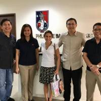 Agent Debora Zoli (center) makes a recent visit to the Philippine Basketball Association offices. The Los Angeles-based agent, who hails from Italy, has worked diligently to grow her business in Europe, Asia and now beyond.   DEBORA ZOLI